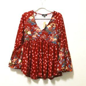 NWT Suzanne Betro Boho Floral Tunic Top